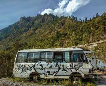 van parked near mountain